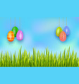 happy easter hanging painted eggs on sky vector image vector image