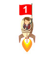 happy woman holding number one flag in rocket ship vector image vector image