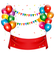 Holiday birthday banner with balloons vector image