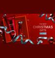 men cosmetics christmas gift banner cream razor vector image vector image