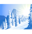 Morning Sun shine and winter landscape vector image vector image