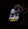 panda mascot sport logo design vector image vector image