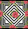 pattern flowers on geometric background vector image vector image
