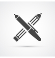Pen and Pencil black icon vector image vector image