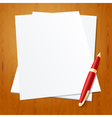Pen with paper vector image vector image