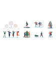 people and christmas celebration set isolated on vector image