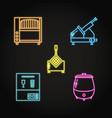 professional kitchen equipment icon set in neon vector image vector image
