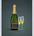 realistic bottle and glasses champagne isolated vector image