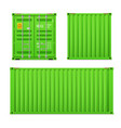 realistic bright green cargo container set vector image vector image