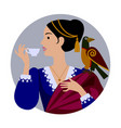 round icon with a woman in retro dress with a vector image
