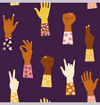 seamless pattern with various hands gestures vector image