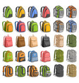 set of various backpacks vector image vector image