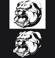 silhouette angry bulldog head barking biting vector image