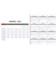 simple calendar 2021 on portuguese language week vector image