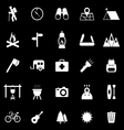 Trekking icons on black background vector image vector image