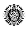vintage beer label with hop design elements vector image