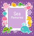 violet border with cute sea animals sea frame vector image vector image