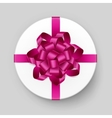 White Round Gift Box with Pink Bow and Ribbon vector image vector image