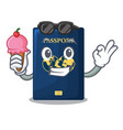 with ice cream blue passport above character vector image