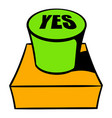 yes green button icon cartoon vector image