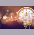 2021 new year background with a clock and glasses vector image