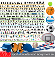 280 sport silhouettes and equipment set vector image