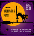 a halloween party square banner with a black cat vector image vector image