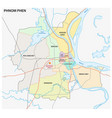 administrative and road map phnom phen vector image vector image