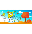 autumn cartoon banner vector image vector image