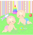 Babies with toys vector image vector image