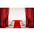 Background with curtains and red carpet leading to vector image