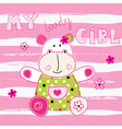 Background with cute little hippo vector image vector image