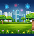 beautiful garden with cityscape building and firew vector image vector image