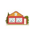brick house facade with windows real estate vector image