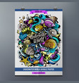 cartoon hand drawn doodles sea life poster design vector image vector image