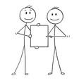 cartoon two men or businessmen holding vector image