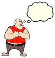 cartoon violent man with thought bubble vector image vector image