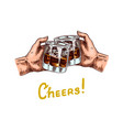 cheers toast a glass whiskey in hands vector image vector image