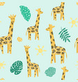 childish seamless pattern with cute giraffe vector image