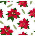 christmas seamless pattern with poinsettia plant vector image vector image