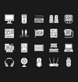 computer white silhouette icons set vector image vector image