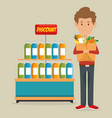 consumer with shopping bag of groceries vector image