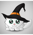 Cute kitty in a witch hat vector image vector image
