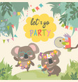 cute koala dancing with friend on lawn vector image