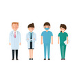 doctors and other hospital staff in cartoon style vector image