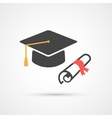 Education hat and diplom flat icon vector image
