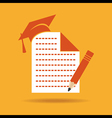 Education icon with graduation capnote and pencil vector image