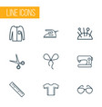 fashion icons line style set with bowknot sewing vector image
