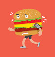 fast food or burger on the run health concept vector image