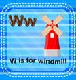 flashcard letter w is for windmill vector image vector image